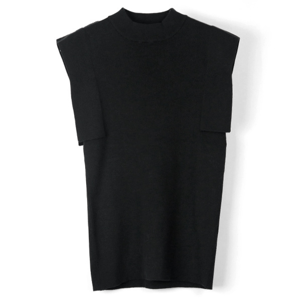 SQUARE SLEEVE KNIT TOPS/BLACK