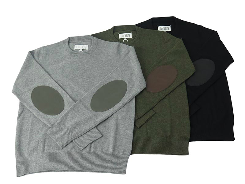 CREW-NECK ELBOW PATCH KNIT