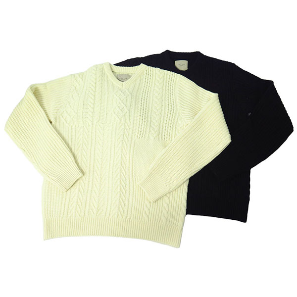 ARAN CABLE KNIT V-NECK