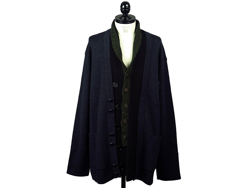 OVERSIZE MIX FABRIC KNIT CARDIGAN