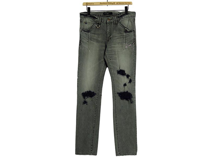 PISTOL SWAROVSKI METAL&CRYSTAL DAMAGE STRETCH DENIM(17SRP-18A)