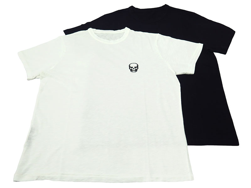 2 T-SHIRTS PACK SKULL PRINT ON CHEST SHORT SLEEVE[WHITE/BLACK]