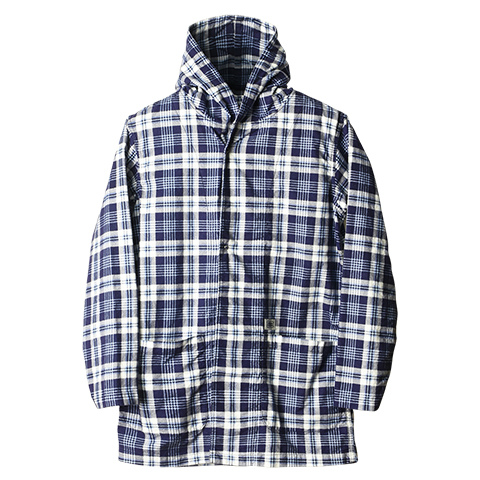 SD Print Flannel Check Hood Gown