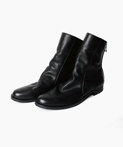 BY marchercher SMOOTH LEATEHR BACK ZIP DRAPE BOOTS