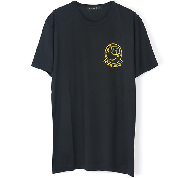 PISTOL SWAROVSKI CRYSTAL SMILEY FACE TEE/BLACK(18MRT-10)