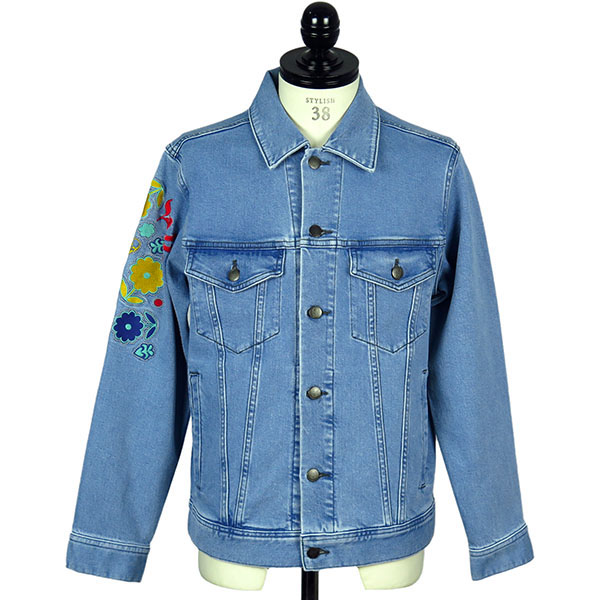 DENIM JACKET WITH LPF LOVE&FLOWER EMBROIDERY