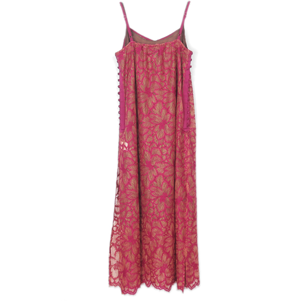 FLOWER SCALLOP CAMI DRESS/PINK