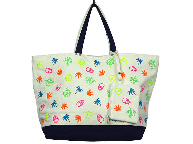 MULTI-COLOR SKULL,LEAF,PEACE,HIBISCUS,PALMTREE EMBROIDERY TOTE L