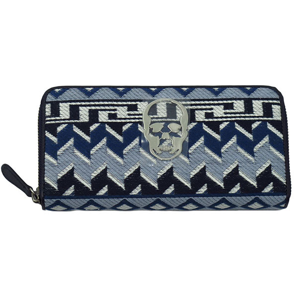 LPF TRIVAL PATTERN JACQUARD LONG ZIP WALLET WITH SKULL METAL PLATE