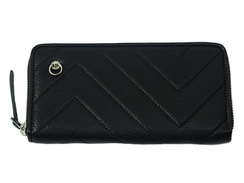 SEVESKIG QUILTING ZIP LONG WALLET -BLACK-