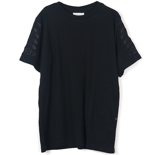 music note crew neck s/s tshirts./black