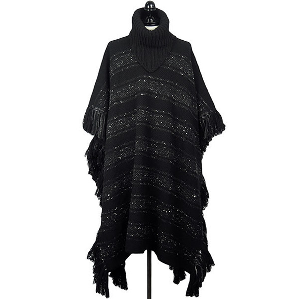 border stripes scarf turtleneck poncho