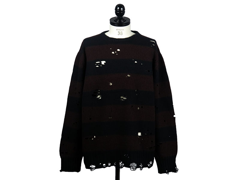 grunge crew neck striped sweater. -midnight×bordeaux-