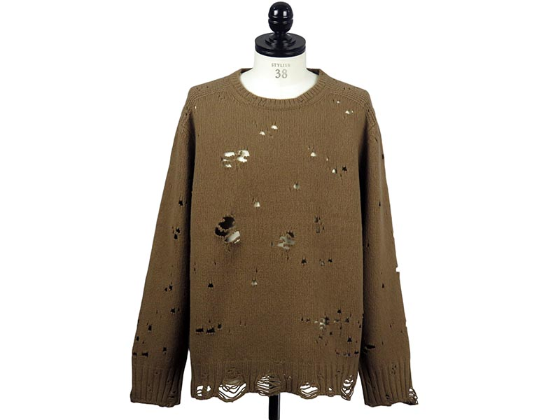 grunge crew neck sweater. -camel-