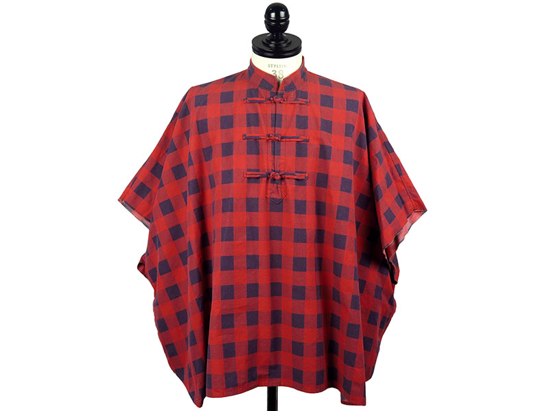 oriental buttoned poncho(red×navy)