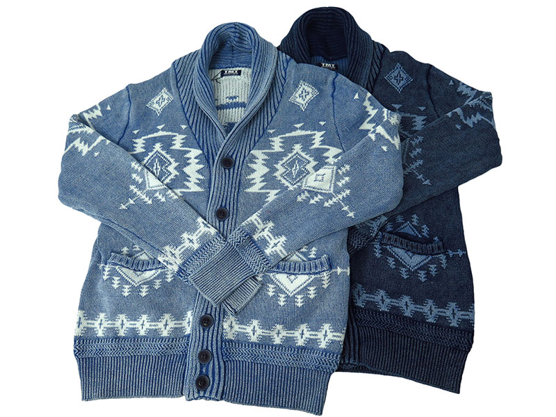 INDIGO JACQUARD NATIVE KNIT CARGIGAN(TKN-F1701)